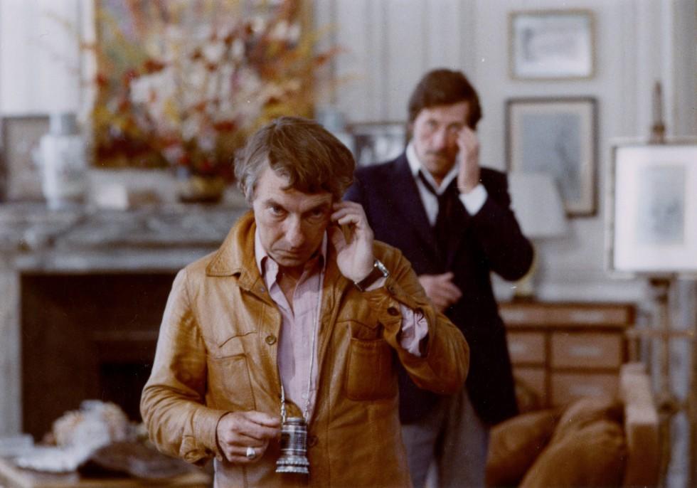 Philippe de Broca et Jean Rochefort sur le tournage du film Le Cavaleur
