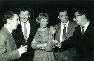 Philippe de Broca, Claude Chabrol et Jean-Pierre Cassel sur le tournage du film Les Jeux de l'amour