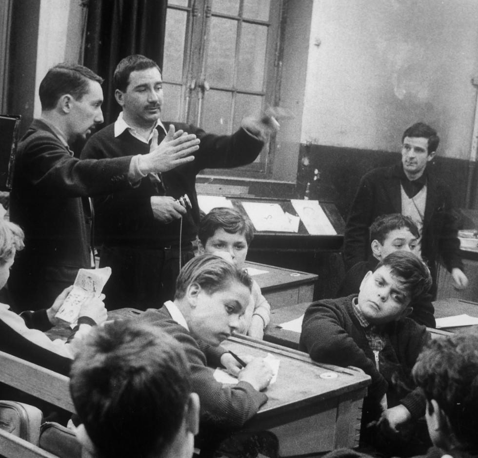 Philippe de Broca et François Truffaut sur le tournages du film Les 400 coups