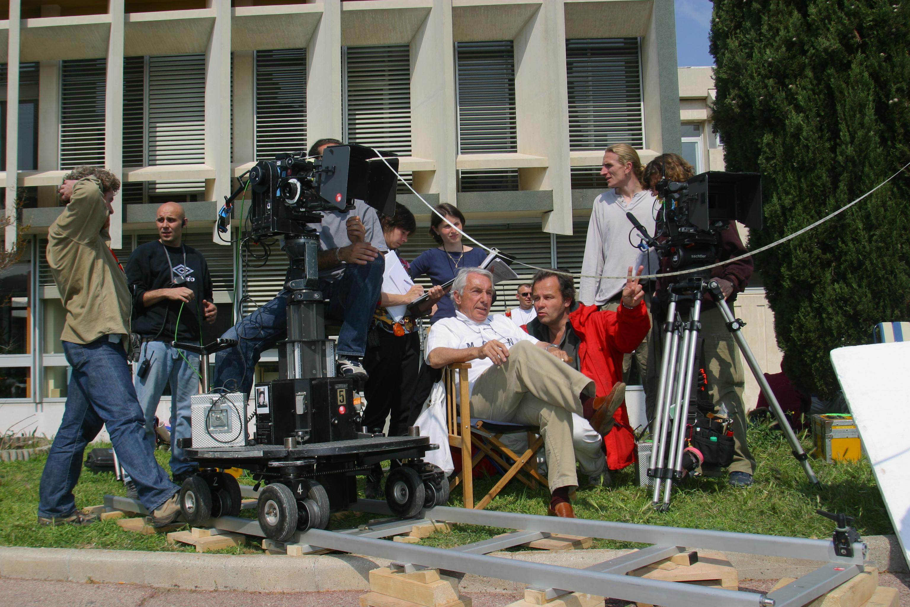 Philippe de Broca sur le tournage du Menteur