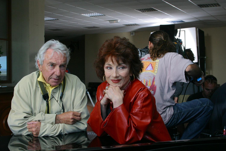Philippe de Broca et Judith Magre sur le tournage du Menteur