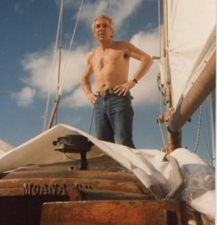 Philippe de Broca sur son bateau le Moana