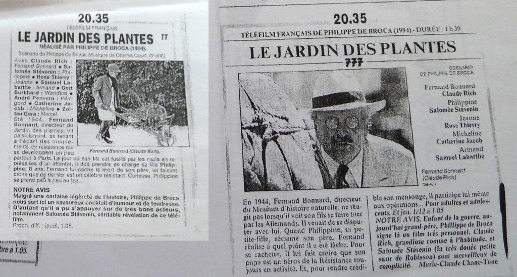 Le jardin des plantes 1994 philippe de broca for Biographie d alexandre jardin